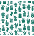 monochrome pattern with cacti in plant pots vector image vector image