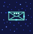 neon christmas mail icon in line style vector image vector image