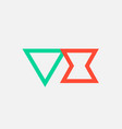 orange green alphabet letter logo combination vx vector image vector image