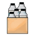paper bag with milk bottles in colored crayon vector image vector image