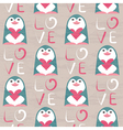 Penguin with heart seamless pattern vector image
