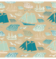 Seamless pattern with sea and ships
