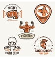 set fighting club emblems mma boxing labels and vector image