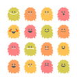 Set of cartoon smiley monsters Collection of vector image