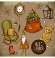 Set of Hand-drawn New Year and Christmas Elements vector image vector image