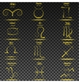 Set of simple stroke zodiac signs with names and vector image