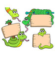 snakes with wooden signs vector image vector image