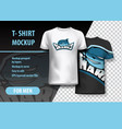 t-shirt mockup with sharks phrase in two colors vector image vector image