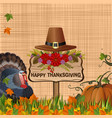 thanksgiving background with turkey and pumpkin vector image vector image