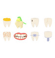 tooth icon set cartoon style vector image