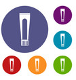 toothpaste tube icons set vector image vector image