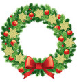 traditional christmas wreath with garlands vector image vector image