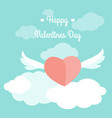 valentine day card template heart wings sky text vector image