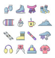 winter clothes icons set cartoon style vector image vector image