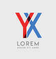 yx logo letters with blue and red gradation vector image vector image