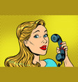 blonde woman talking on retro phone vector image