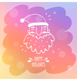 Sketchy Santa Claus on misted window glass with vector image