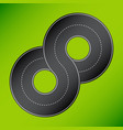 8 shape road 8 shape road on green vector image