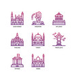 asian cities and counties landmarks icons set 5 vector image vector image