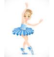 ballerina girl with a diadem in hair in blue