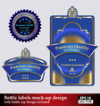 Bottle and bottle cap labels vector image