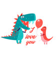 Brightly amorous dinosaur enamored vector image