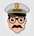 bus driver cartoon face with glasses vector image vector image