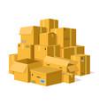 cardboard boxes pile storage delivery cardboard vector image vector image