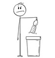 cartoon of man holding an plastic pet bottle vector image vector image