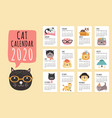 cat calendar 2020 monthly planner with cute vector image