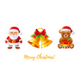 christmas icon set cartoon santa claus jingle vector image vector image