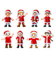 collection of christmas santa claus kids on white vector image