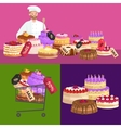 confectionery shop Sale Set of sweets cakes vector image vector image