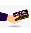 Coupon for a 20-percent discount in the hand vector image vector image