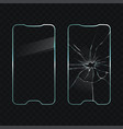 damaged and new cellphone screen glass vector image