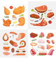 different kind of meat food icons set raw vector image vector image