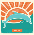 dolphin jumping in sea vintage poster vector image vector image