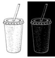 drink in paper cup with a straw hand drawn sketch vector image vector image