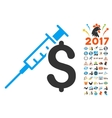 Drug Business Icon With 2017 Year Bonus Symbols vector image
