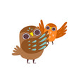 father owl and his baby happy family owls vector image
