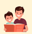 father reading a book to his son vector image vector image