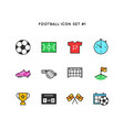 football sport icon set soccer object simple vector image