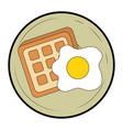 fried egg and bread vector image vector image