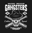 gangster skull in hat with baseball bats on black vector image vector image