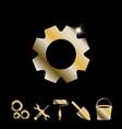 gold gear icon vector image vector image