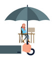 hand holding umbrella protecting woman worker vector image vector image