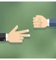 Hands playing paper rock scissors vector image vector image