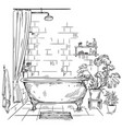 interior a bathroom sketch vector image vector image