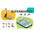 isometric supermarket composition vector image vector image
