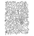 line art doodle cartoon set of travel planning vector image